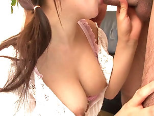 Teens;Blowjobs;Brunettes;Facials;Tits;Japanese;HD Videos Young brunette with juicy tits sucks...