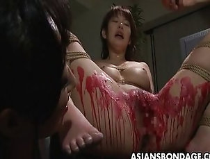Asian;Group;Fetish;Japanese,Asian;Bondage;Japanese;Threesome Asian babe get her privates covered...